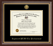 PTIN Directory Inc. Certificate Frame - Registered PTIN Tax Professional Gold Engraved Medallion Certificate Frame in Hampshire