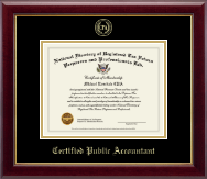 PTIN Directory Inc. Certificate Frame - Certified Public Accountant Gold Embossed Certificate Frame in Gallery