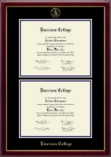 Emerson College Diploma Frame - Double Document Diploma Frame in Gallery