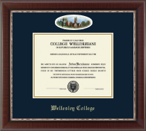 Wellesley College Diploma Frame - Campus Cameo Diploma Frame in Chateau
