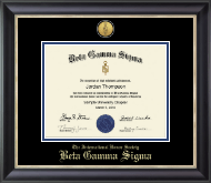 Beta Gamma Sigma Diploma Frame - Gold Engraved Medallion Certificate Frame in Noir