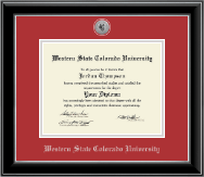 Western State Colorado University Diploma Frame - Silver Engraved Medallion Diploma Frame in Onyx Silver