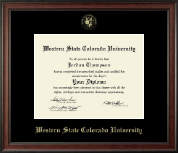 Western State Colorado University Diploma Frame - Gold Embossed Diploma Frame in Studio