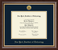 New York Institute of Technology Diploma Frame - Gold Engraved Medallion Diploma Frame in Hampshire