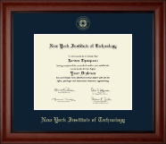 New York Institute of Technology Diploma Frame - Gold Embossed Diploma Frame in Cambridge