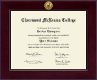 Claremont McKenna College Diploma Frame - Century Gold Engraved Diploma Frame in Cordova