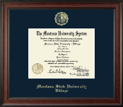 Montana State University Billings Diploma Frame - Gold Embossed Diploma Frame in Studio