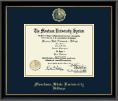 Montana State University Billings Diploma Frame - Gold Embossed Diploma Frame in Onexa Gold