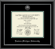 Eastern Michigan University Diploma Frame - Silver Embossed Diploma Frame in Onyx Silver