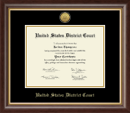 United States District Court Certificate Frame - Gold Engraved Medallion Certificate Frame in Hampshire
