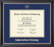 Fashion Institute of Technology Diploma Frame - Gold Embossed Diploma Frame in Noir