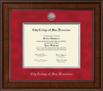 City College of San Francisco Diploma Frame - Presidential Silver Engraved Diploma Frame in Madison