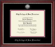 City College of San Francisco Diploma Frame - Silver Engraved Medallion Diploma Frame in Kensington Silver
