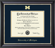 The University of Michigan Diploma Frame - Gold Embossed Diploma Frame in Noir