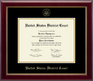 United States District Court Certificate Frame - Gold Embossed Certificate Frame in Gallery