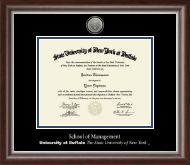 University at Buffalo The State University of New York Diploma Frame - Silver Engraved Medallion Diploma Frame in Devonshire