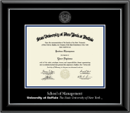 University at Buffalo The State University of New York Diploma Frame - Silver Embossed Diploma Frame in Onyx Silver