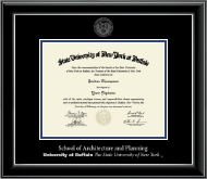University at Buffalo Diploma Frame - Silver Embossed Diploma Frame in Onyx Silver