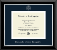 University of New Hampshire Diploma Frame - Silver Embossed Diploma Frame in Onyx Silver