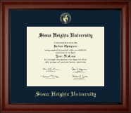 Siena Heights University Diploma Frame - Gold Embossed Diploma Frame in Cambridge