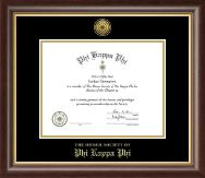 Phi Kappa Phi Certificate Frame - Gold Engraved Medallion Certificate Frame in Hampshire