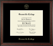 Greenville College Diploma Frame - Gold Embossed Diploma Frame in Studio