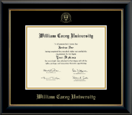 William Carey University Diploma Frame - Gold Embossed Diploma Frame in Onyx Gold