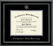 Northwestern State University Diploma Frame - Silver Embossed Diploma Frame in Onyx Silver