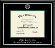 Ohio University Diploma Frame - Silver Embossed Diploma Frame in Onyx Silver