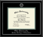 Ohio University Athens Diploma Frame - Silver Embossed Diploma Frame in Onyx Silver