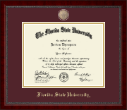 Florida State University Diploma Frame - Brass FSU Seal Medallion Diploma Frame in Sutton