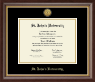 St. John's University, New York Diploma Frame - Gold Engraved Medallion Diploma Frame in Hampshire
