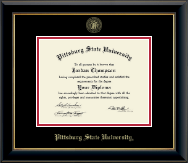 Pittsburg State University Diploma Frame - Gold Embossed Diploma Frame in Onyx Gold