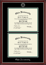 Ohio University Athens Diploma Frame - Double Document Diploma Frame in Kensington Silver