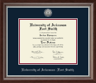 University of Arkansas - Fort Smith Diploma Frame - Silver Engraved Medallion Diploma Frame in Devonshire