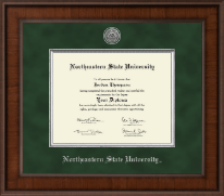 Northeastern State University Tahlequah Diploma Frame - Presidential Silver Engraved Diploma Frame in Madison