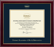 National Association of Health Underwriters Certificate Frame - Gold Embossed Certificate Frame in Gallery