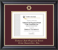 National Anti-Organized Retail Crime Association, Inc. Certificate Frame - Gold Embossed Certificate Frame in Noir