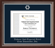 National Anti-Organized Retail Crime Association, Inc. Certificate Frame - Silver Embossed Certificate Frame in Devonshire