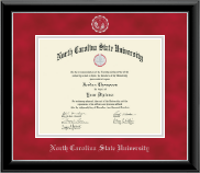 North Carolina State University Diploma Frame - Silver Embossed Diploma Frame in Onyx Silver