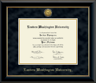 Eastern Washington University Diploma Frame - Gold Engraved Medallion Diploma Frame in Onyx Gold