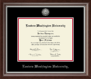 Eastern Washington University Diploma Frame - Silver Engraved Medallion Diploma Frame in Devonshire