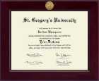 St. Gregory's University Diploma Frame - Century Gold Engraved Diploma Frame in Cordova