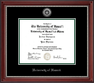 University of Hawaii at Manoa Diploma Frame - Silver Engraved Medallion Diploma Frame in Kensington Silver