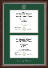 University of Hawaii at Manoa Diploma Frame - Double Document Diploma Frame in Devonshire