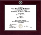 University of Hawaii at Hilo Diploma Frame - Century Silver Engraved Diploma Frame in Cordova