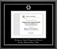 National Anti-Organized Retail Crime Association, Inc. Certificate Frame - Silver Embossed Certificate Frame in Onyx Silver