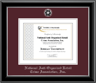 National Anti-Organized Retail Crime Association, Inc. Certificate Frame - Silver Engraved Medallion Certificate Frame in Onyx Silver