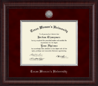 Texas Woman's University Diploma Frame - Presidential Silver Engraved Diploma Frame in Premier
