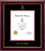 Alpha Chi Omega Certificate Frame - Gold Embossed Certificate Frame in Gallery